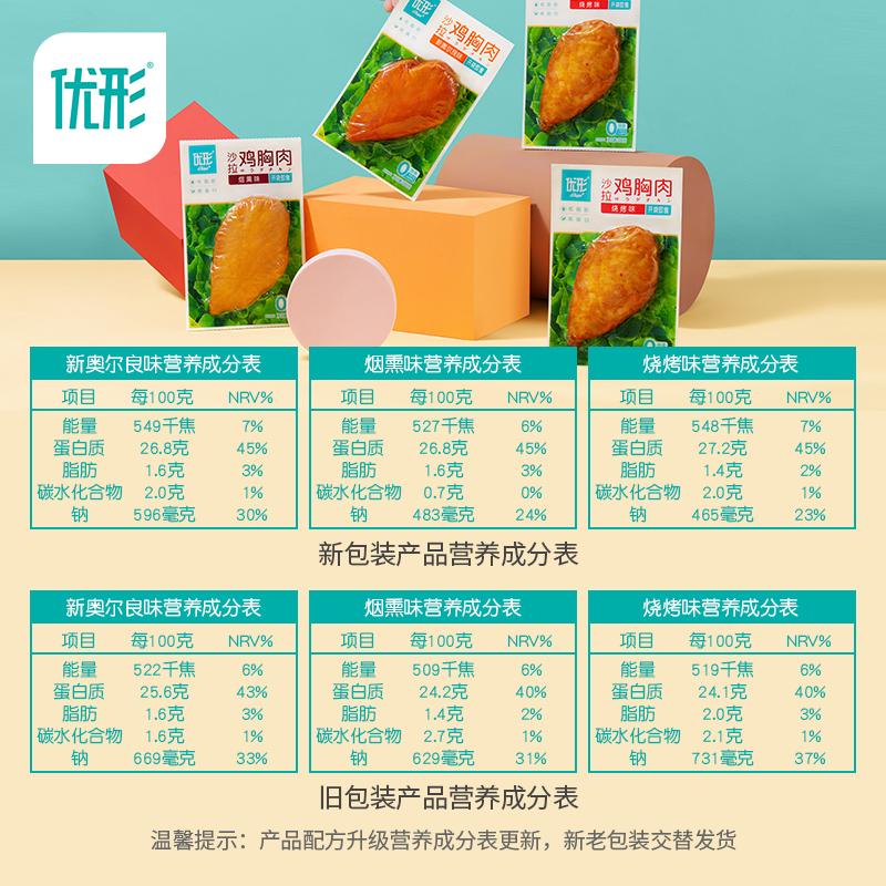 优形沙拉鸡胸肉健身即食速食轻食餐优型低脂高蛋白100g*9袋