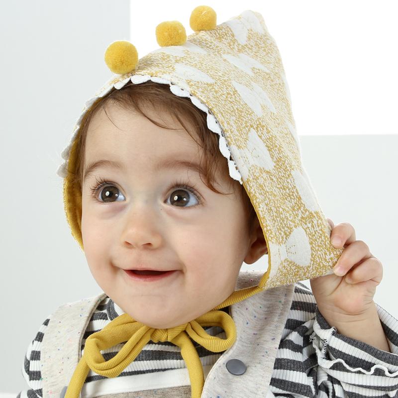 韩国进口婴儿帽子秋冬纯棉男女宝宝胎帽0-3-6-12个月新生儿精灵帽