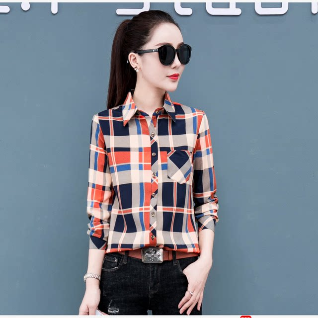 2019 Spring New Summer Professional Workwear Tops All-match Slim Korean Plaid Shirt Women Long Sleeve Large Size Shirt
