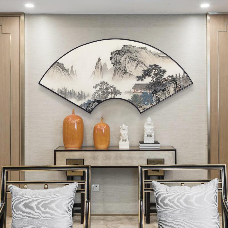 客厅玄关新中式装饰画中国风山水扇形中式沙发背景墙挂画餐厅卧室