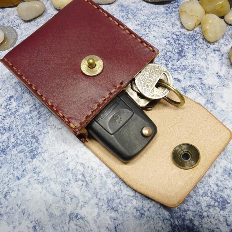 多功能通用汽车钥匙包腰包挂腰带穿皮带折叠眼镜盒男真皮手工1652