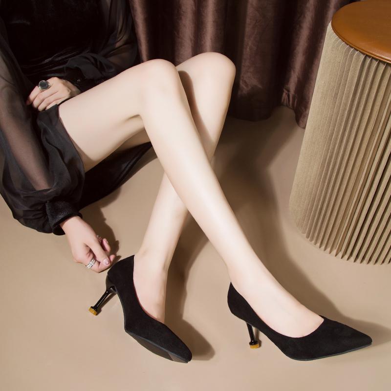 秋鞋小ck高跟鞋女黑色2019新款尖头细跟单鞋百搭小跟磨砂晚晚鞋