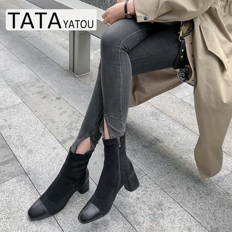 ck 他她丫头官方旗舰店真皮高跟瘦瘦袜靴弹力短靴女鞋小 YATOU TATA