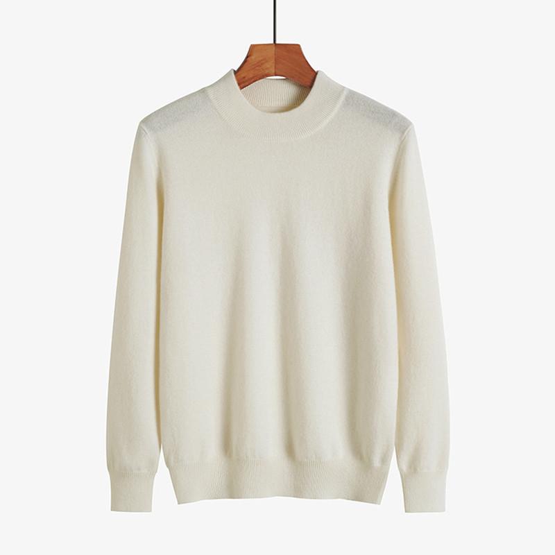 满后品牌羊绒毛衣山羊绒衫女式新款纯色套头半高领长袖针织打底衫主图