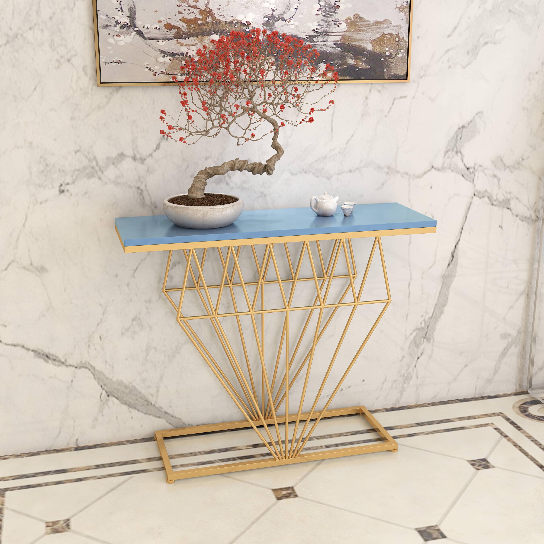 现代钻石玄关桌铁艺客厅轻奢玄关台大理石金色玄关柜北欧边桌靠墙