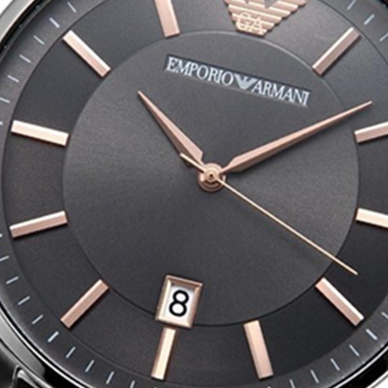 阿玛尼手表男EMPORIOARMANI黑色时尚休闲石英腕表日历防水AR11179
