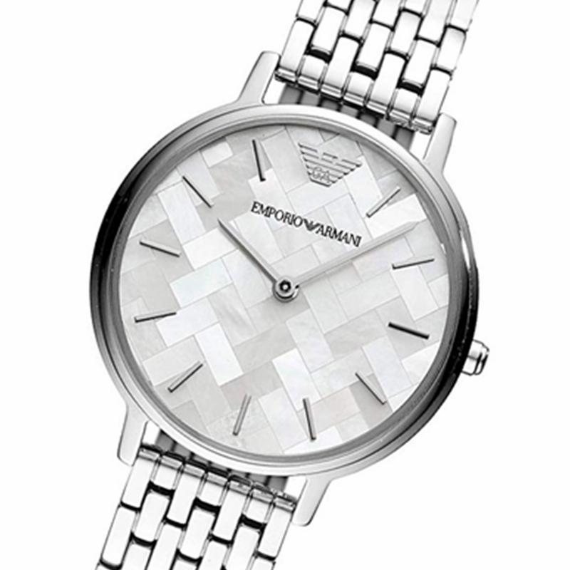 阿玛尼手表女EMPORIOARMANI银色时尚休闲石英腕表防水AR11112