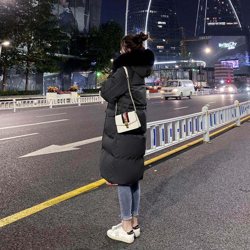 年新款爆款韩版小个子黑色羽绒服女中长款白鸭绒过膝时尚外套 2019