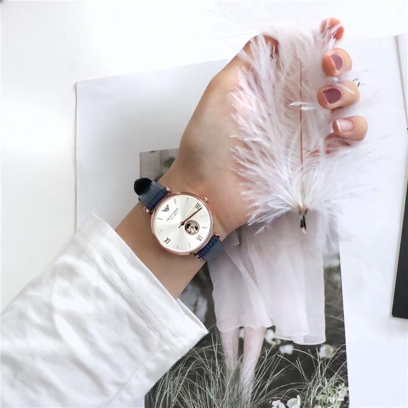 Armani阿玛尼手表女机械表女 新款满天星皮带镂空机械手表AR60020
