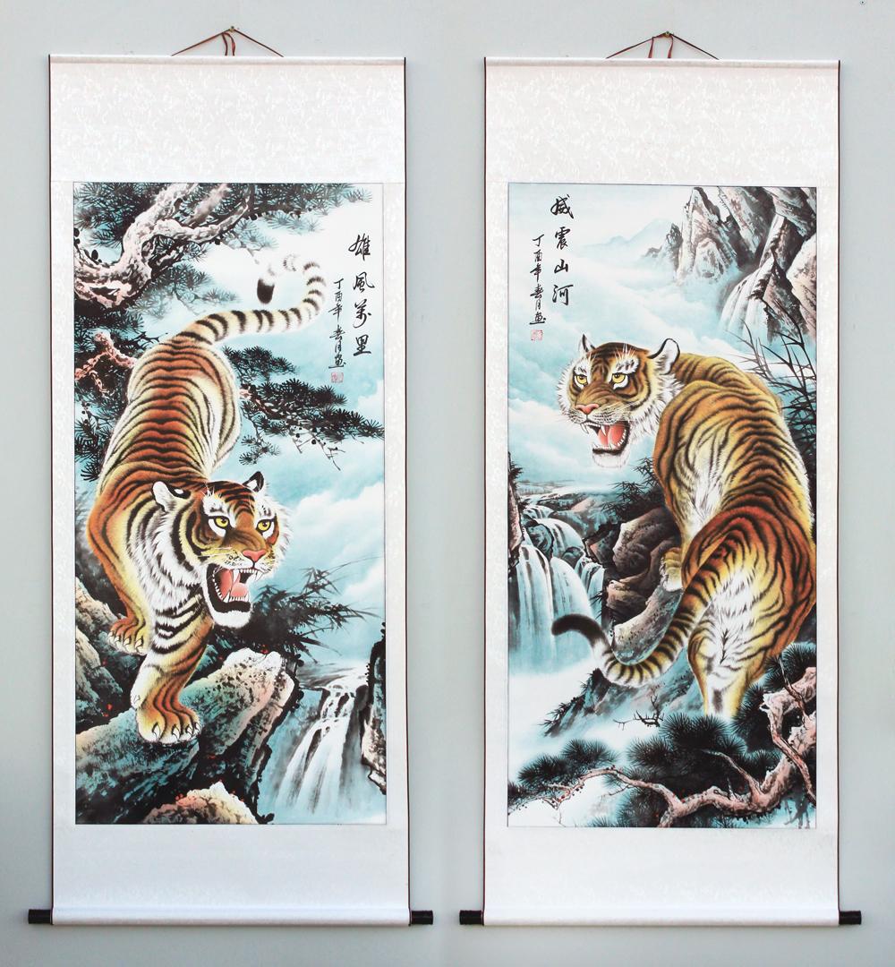 虎畫國畫上山虎裝飾畫老虎圖客廳鎮宅風水畫下山虎避邪掛畫卷軸掛