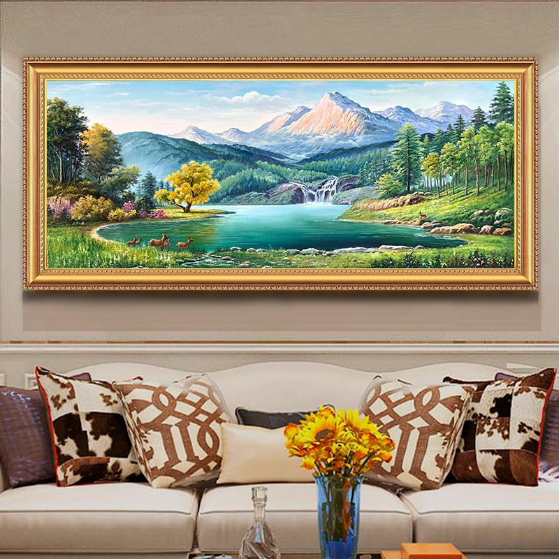 手繪客廳玄關油畫風景山水聚寶盆沙發背景墻歐式手工橫裝飾畫掛畫