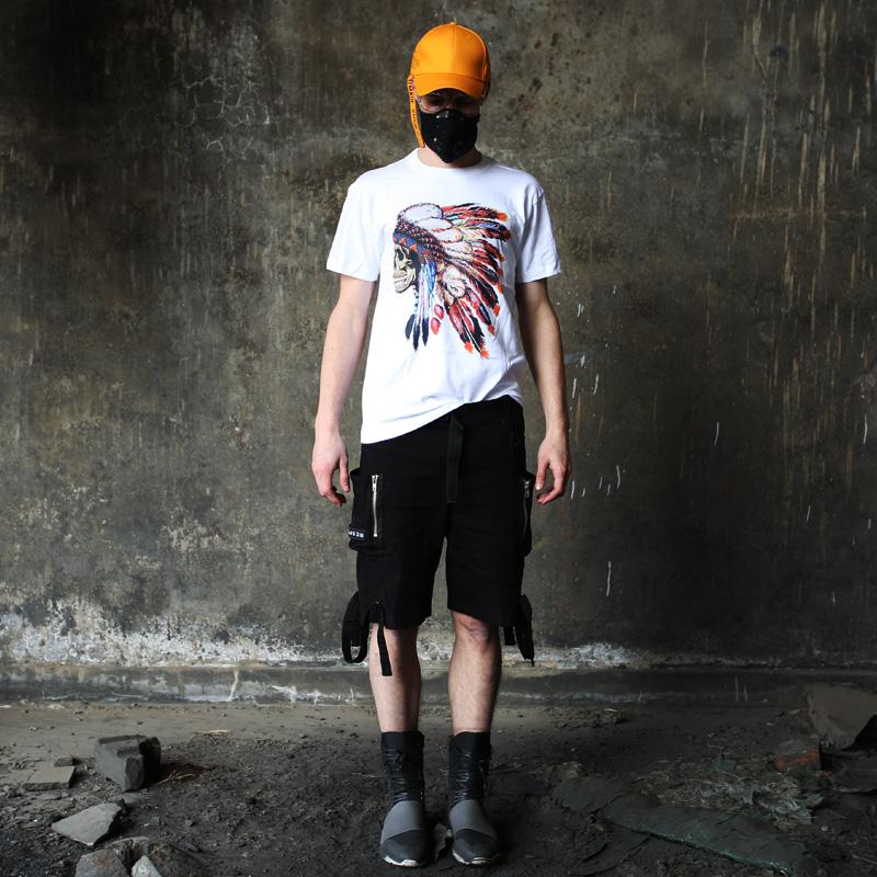 美国潮牌朋克摇滚嘻哈西部牛仔原始印第安人头像骷髅头短袖T恤男