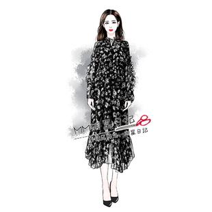 欧阳娜娜同款黑色碎花雪纺连衣裙