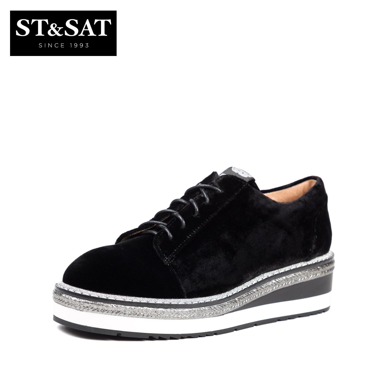 SS83112238 秋冬新款坡跟系带单鞋女 2018 星期六 Sat & St 预售
