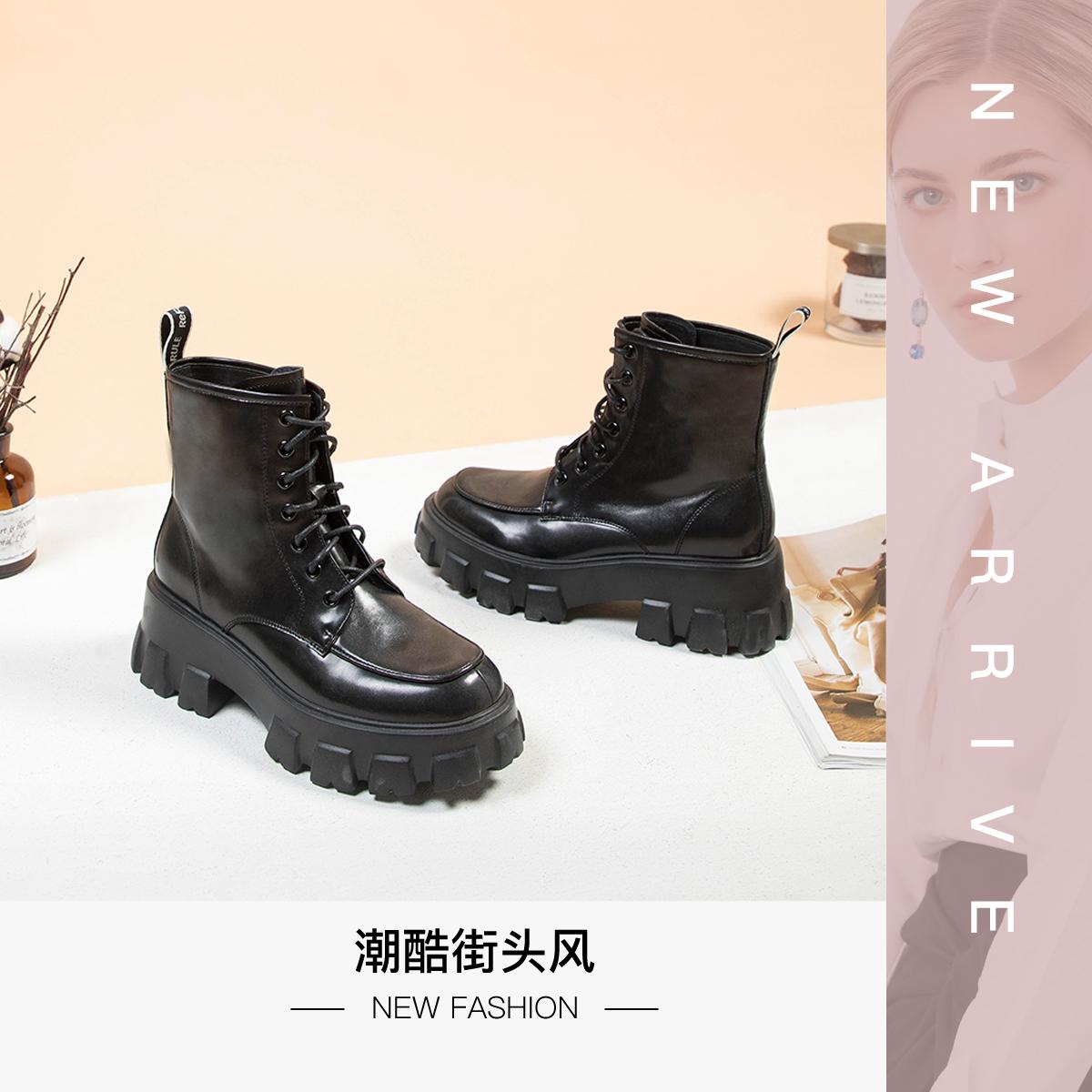 SS03116033 秋冬新款厚底潮流前系带时装靴黑色女靴 2020 星期六女鞋