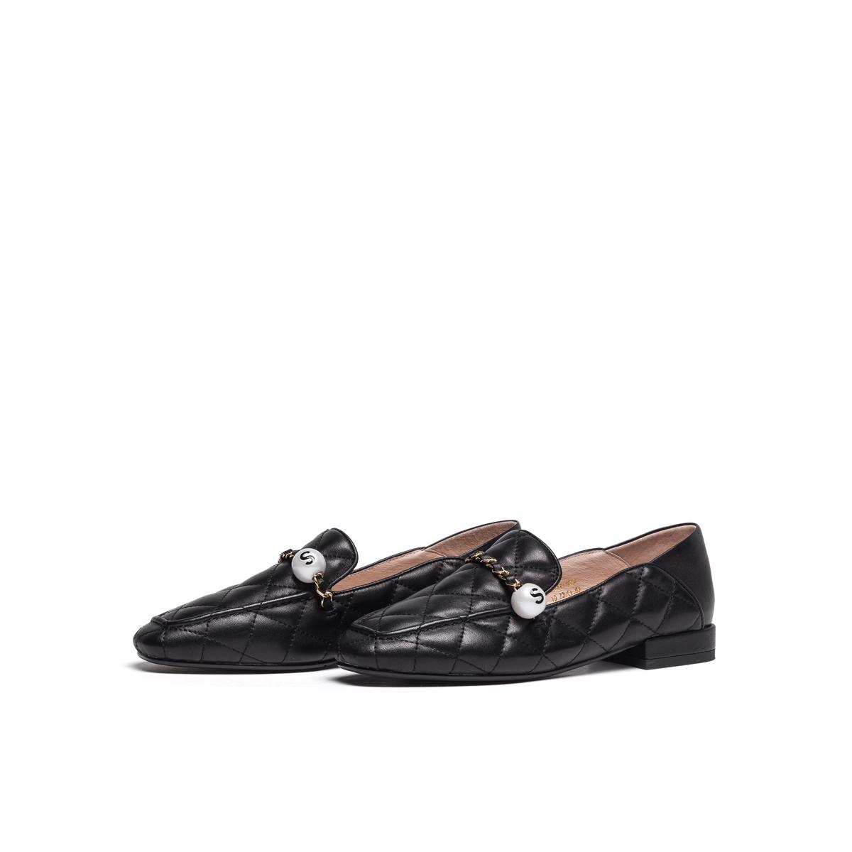 SS11111039 春季新款方头低跟舒适商场同款女单鞋 2021 星期六乐福鞋