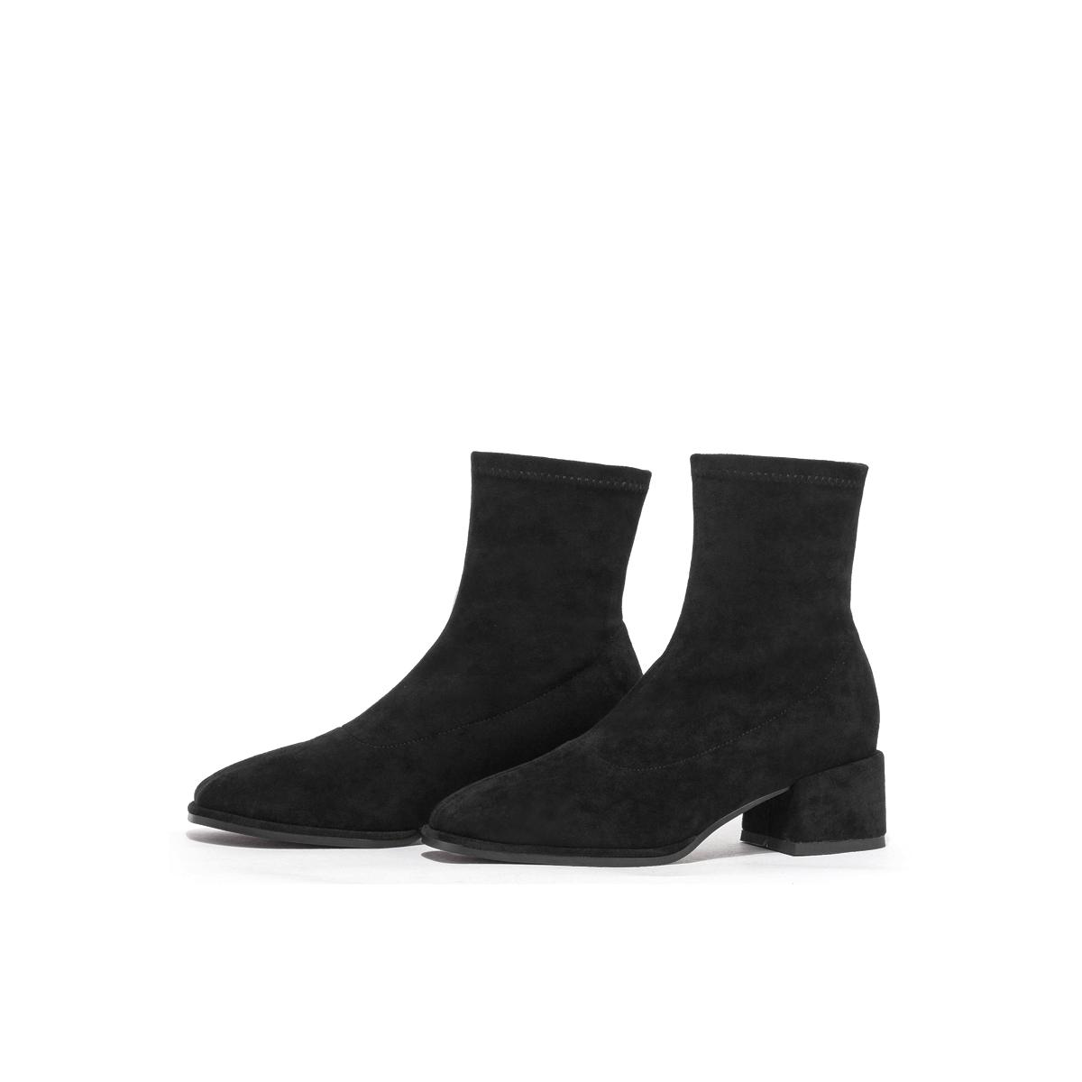 SS03116335 星期六时装靴秋冬新款方头套筒瘦瘦靴暗黑系列女短靴