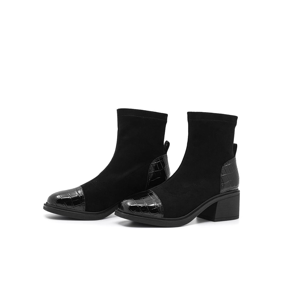 SS04116692 冬季新款方头粗跟中跟时装靴短靴 2020 星期六弹力靴袜靴