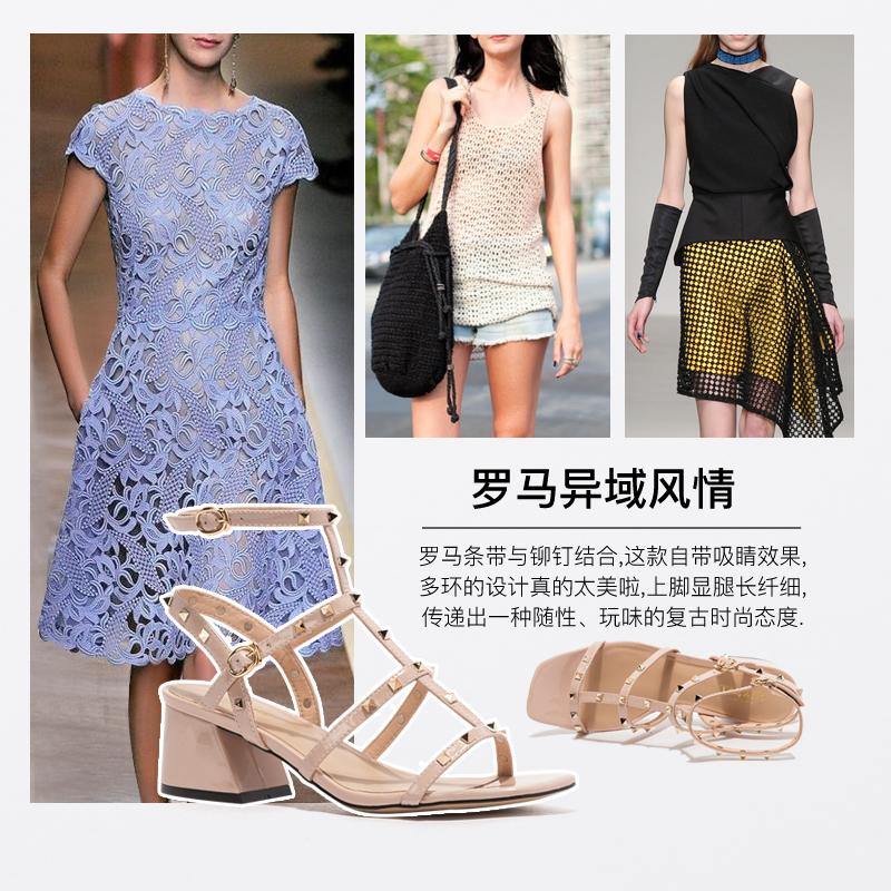 SS02115194 星期六夏季时装凉鞋中跟新款铆钉高跟鞋罗马女鞋粗跟鞋