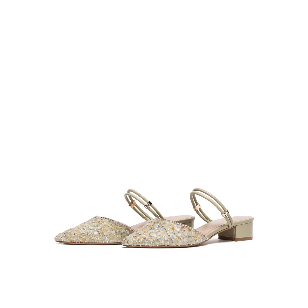 SS11114048 春季新款甜美中跟粗跟尖头浅口鞋 2021 星期六时尚穆勒鞋