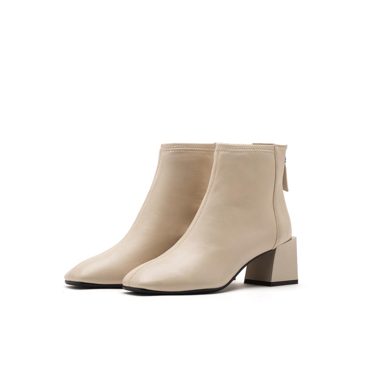 SS94116661 冬季新款粗跟高跟鞋女短靴潮 2019 星期六 券 90 付定送