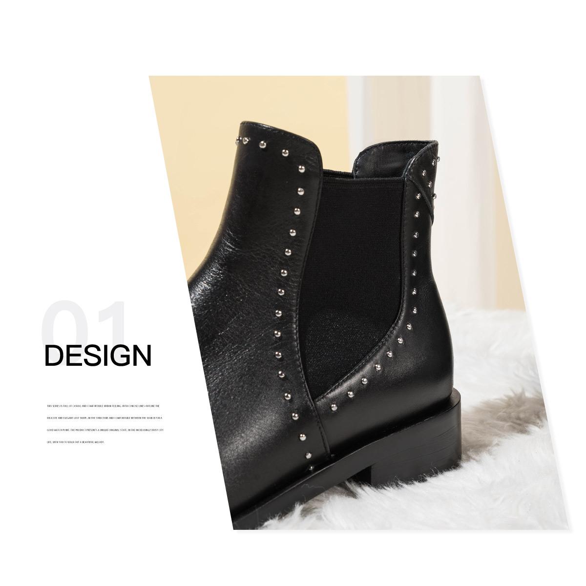 SS04118588 冬季新款铆钉圆头方跟复古时尚短靴 2020 星期六切尔西靴