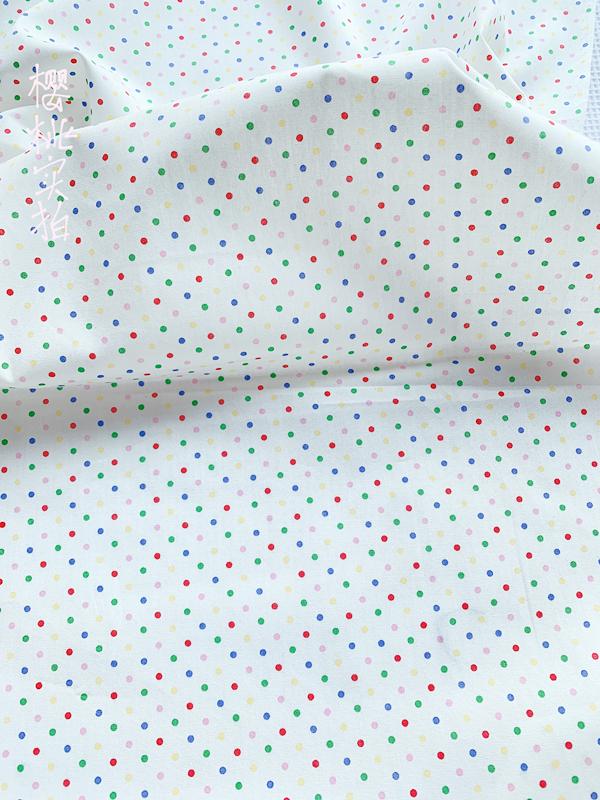 日本进口薄棉全棉布料 彩色水玉  ob11/bjd娃衣衬衫童装服装面料