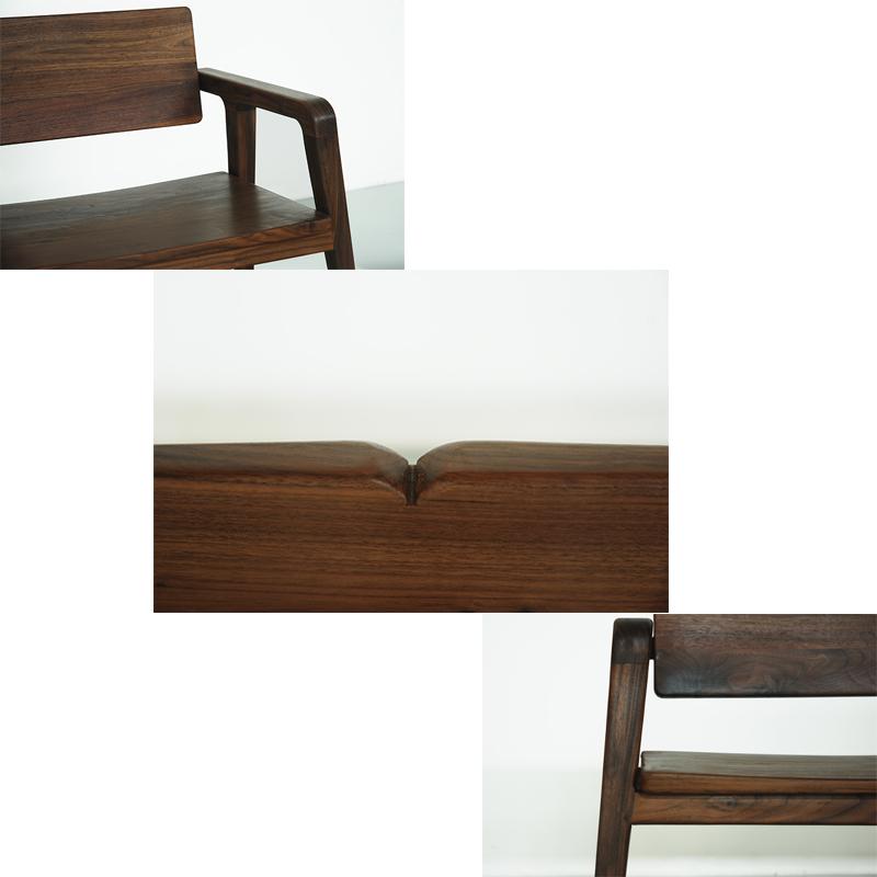 重庆定制家具新中式现代简约原创榫卯三人休闲椅包邮