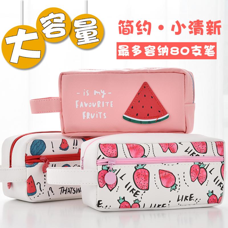 大容量笔袋女简约ins韩国可爱韩版小学生初中生帆布铅笔盒文具袋