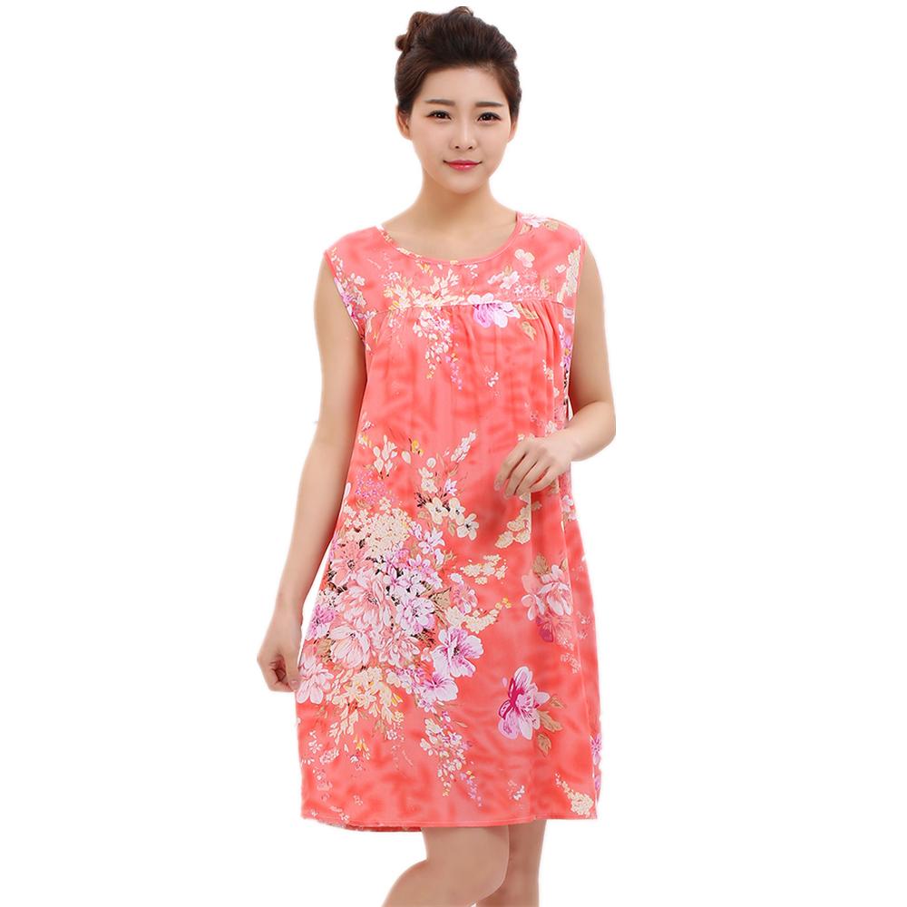 夏季中老年人睡衣女士绵绸妈妈睡裙夏天中年薄款大码人造棉连衣裙