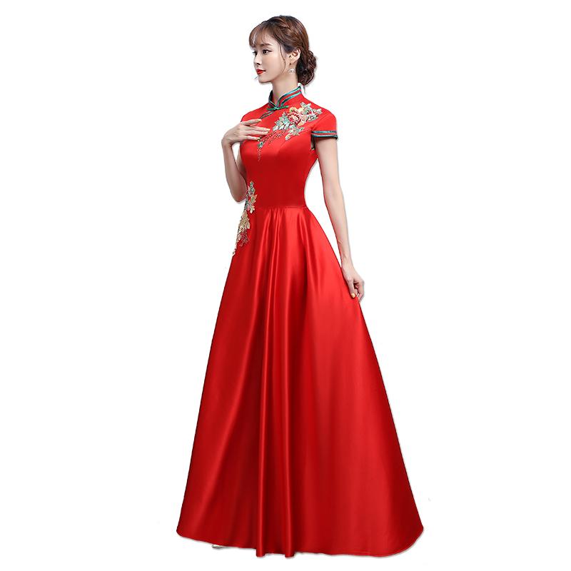 礼仪旗袍颁奖年会酒店迎宾小姐服长款红色长袖学生演出服装短款女