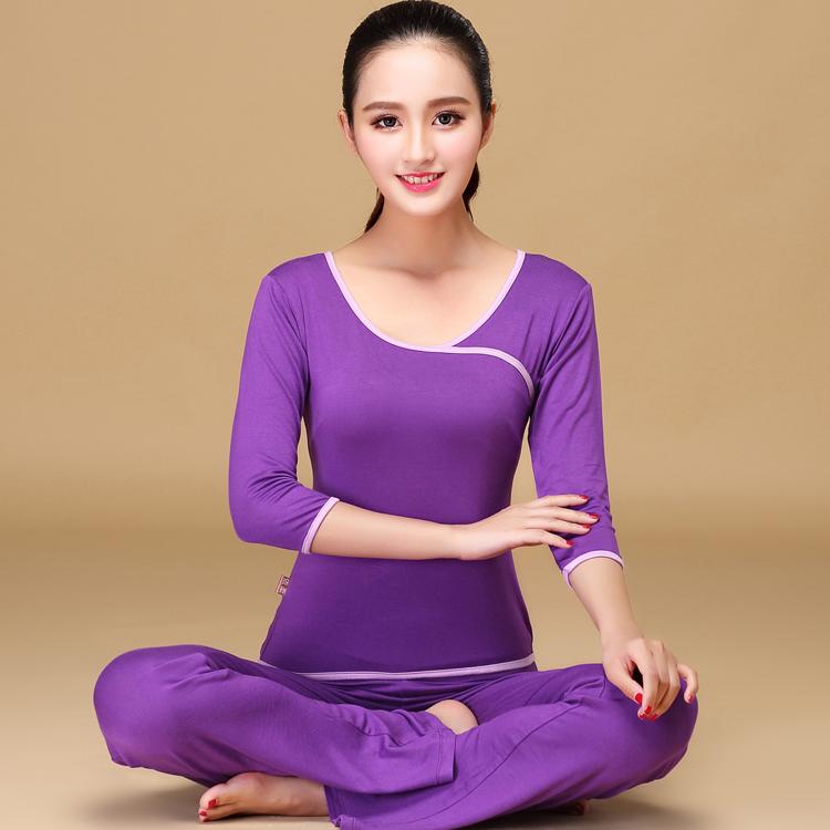 新款莫代尔瑜伽服女套装春夏运动服健身服跑步服广场舞蹈服两件套
