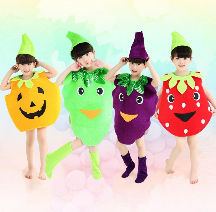 六一儿童水果蔬菜演出服幼儿水果舞蹈服西瓜草莓苹果葡萄白菜表演