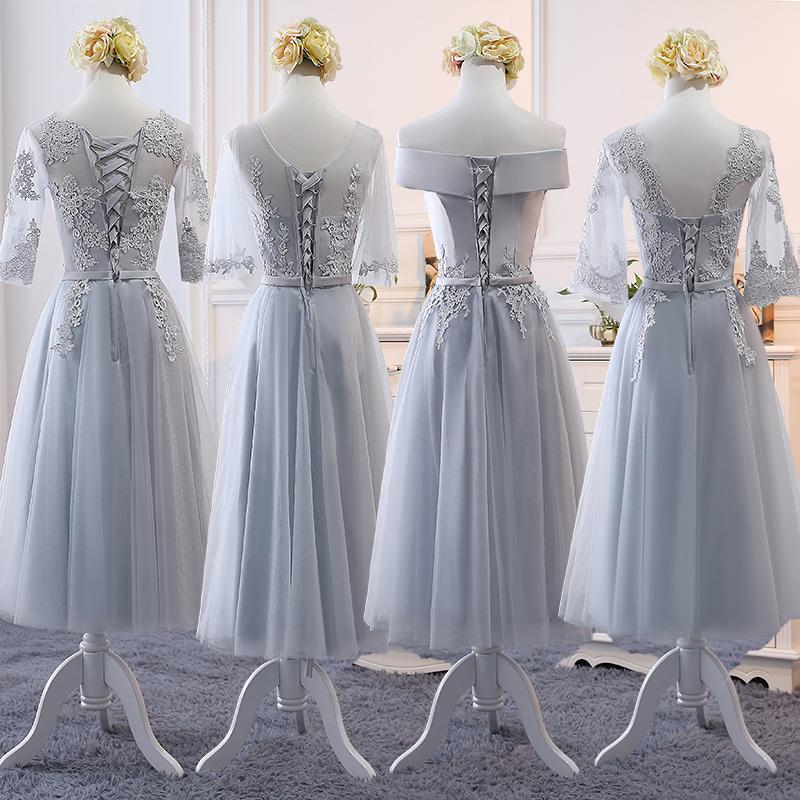 伴娘服中长款女2019新款春季韩版灰色伴娘裙姐妹团显瘦婚礼晚礼服