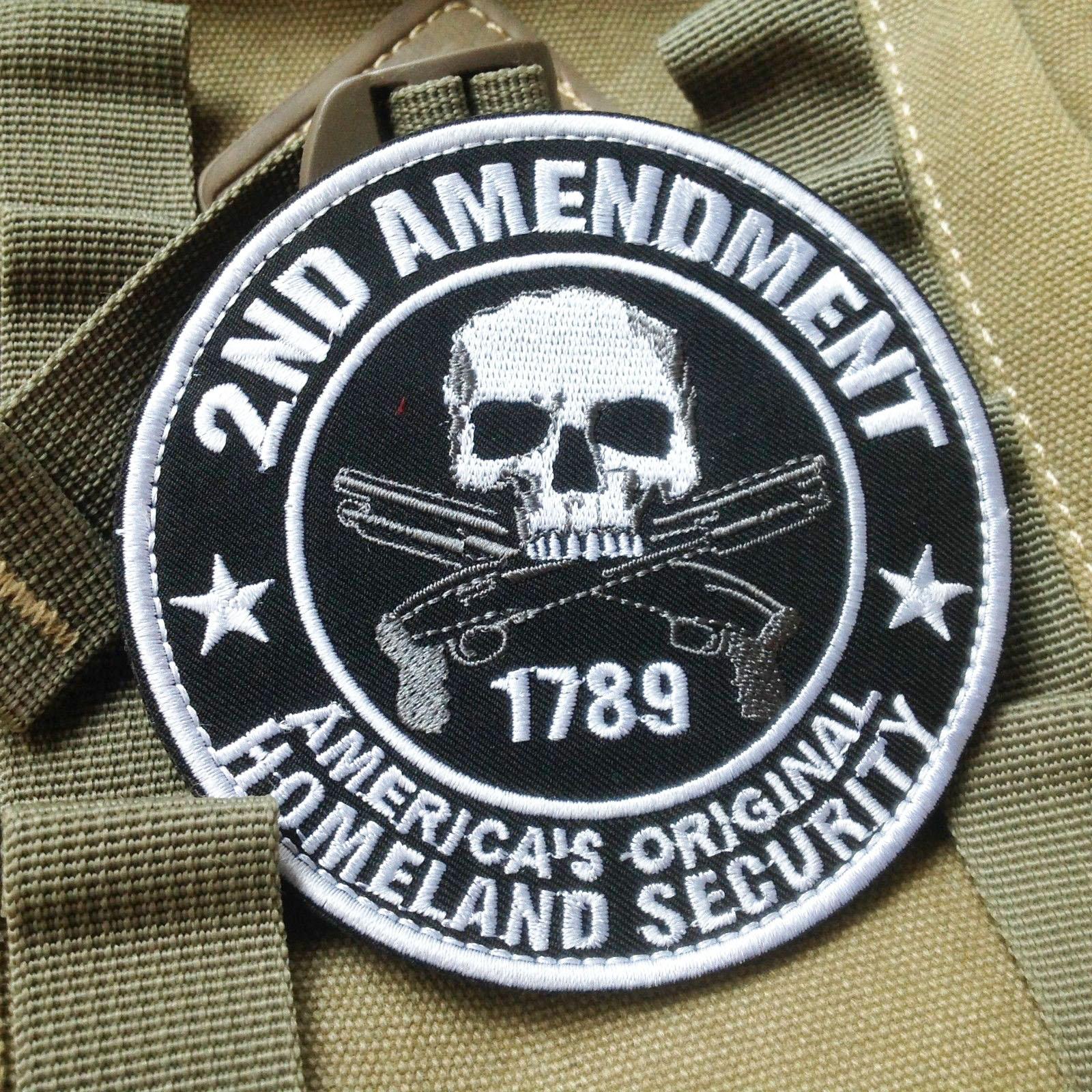 1789美國國土安全刺繡補丁骷髏頭3D刺繡魔術貼臂章徽章軍迷揹包貼