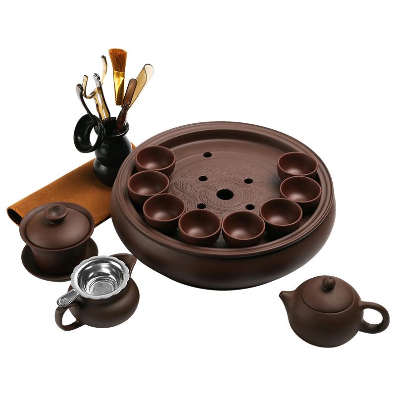 潮汕紫砂功夫茶具套装宜兴现代家用简约整套陶瓷茶盘茶壶茶杯泡茶