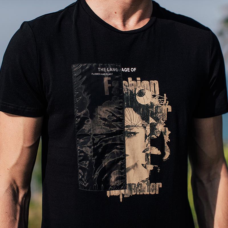 [包邮]Kuegou 夏季男士短袖T恤 男韩版休闲印花圆领潮流上衣1578