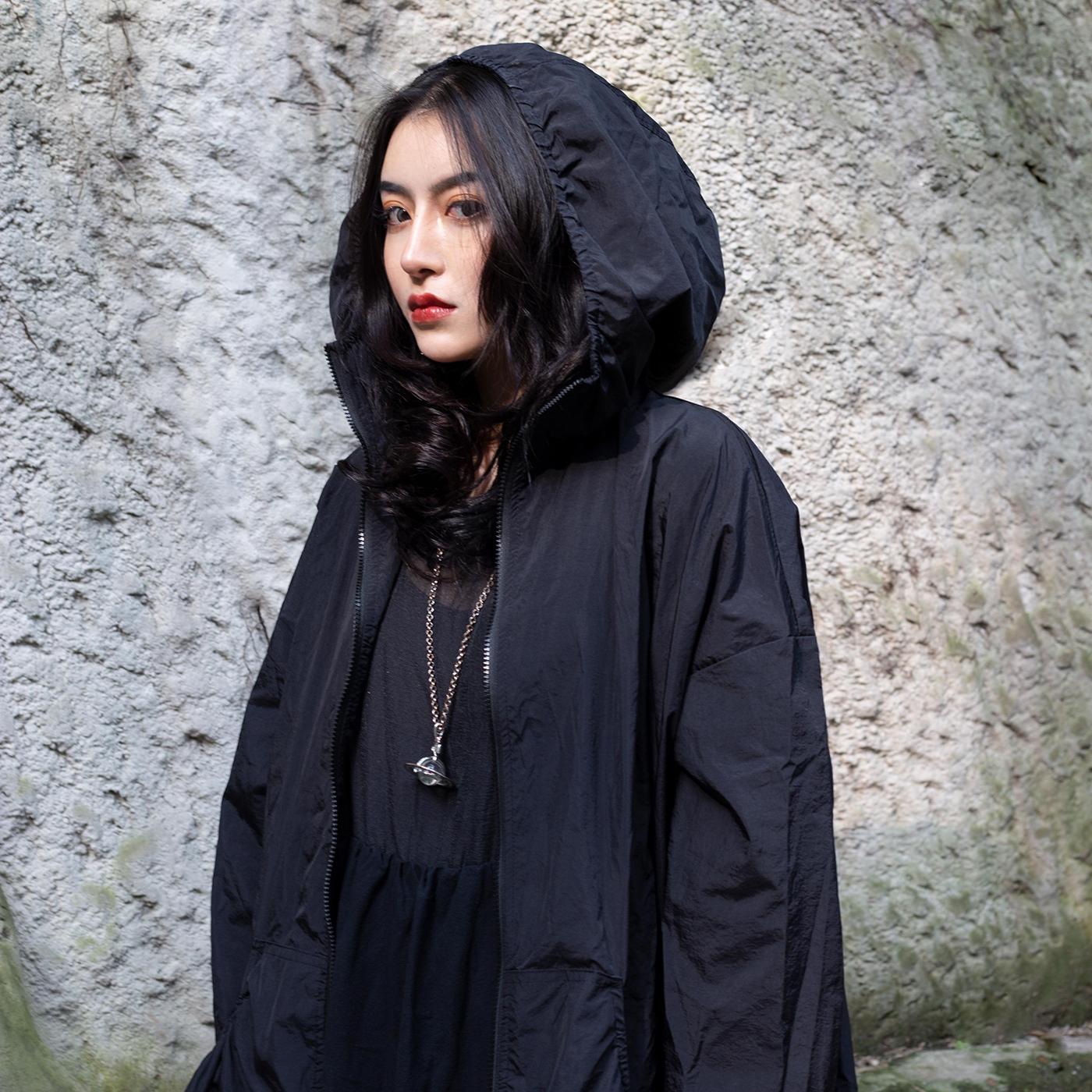 新款日系抽皱宽松防晒薄中长款风衣外套女 ss 春夏 19 BLACK SIMPLE