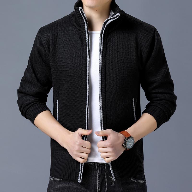 【男都世苑】秋冬季潮流男开衫立领针织衫修身加绒加厚毛衣外套男