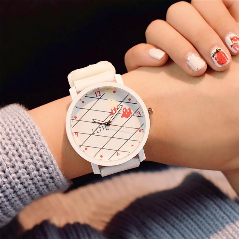 韩国软妹手表可爱糖利色女生初中高中学生简约韩版休闲潮流小清新