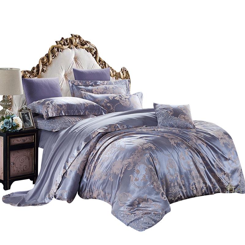 紫罗兰贡缎奢华全棉提花四件套床上用品纯棉被套床单1.5m1.8米