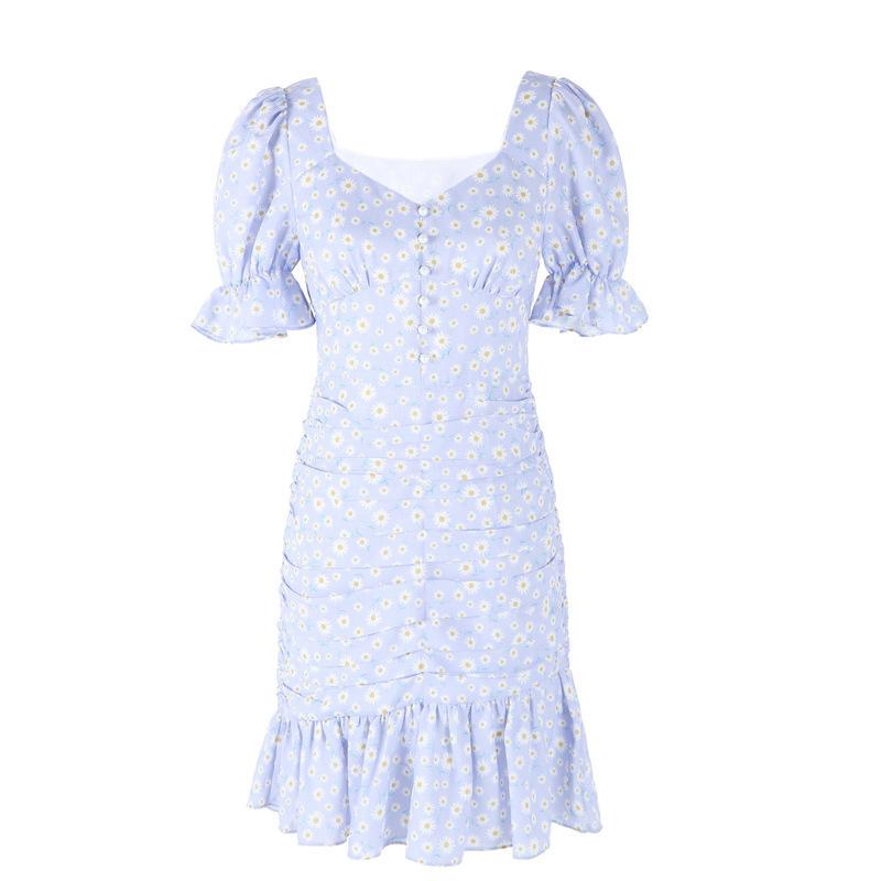 年新款夏法式显瘦紫色裙子泡泡袖 2020 连衣裙女 missCOCOON 宋轶同款