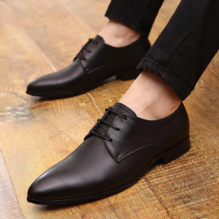 春夏季韓版尖頭小皮鞋男英倫風潮流休閒社會小夥鞋內增高黑色男鞋