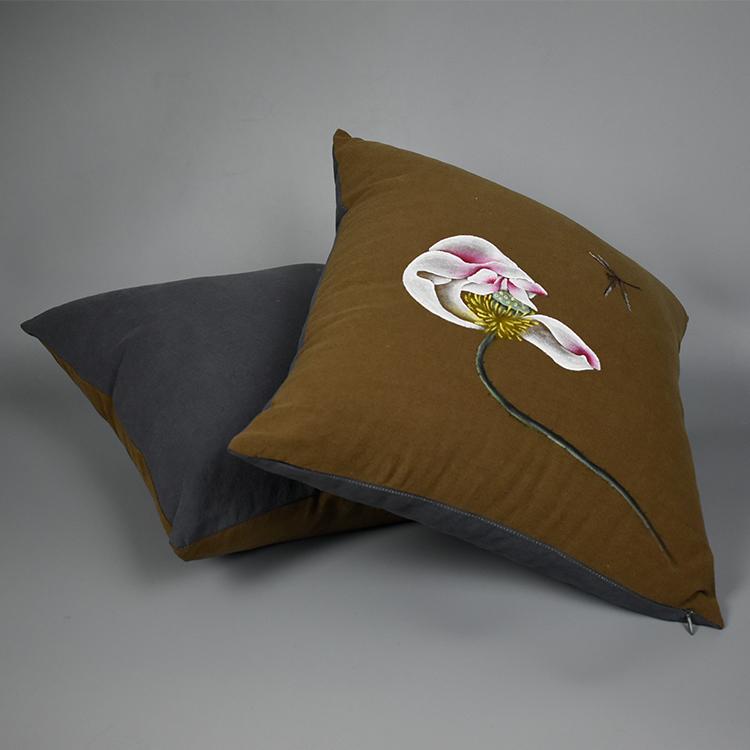 新中式禅意手绘靠垫抱枕套中国风亚麻棉麻汽车沙发办公室腰靠垫夏