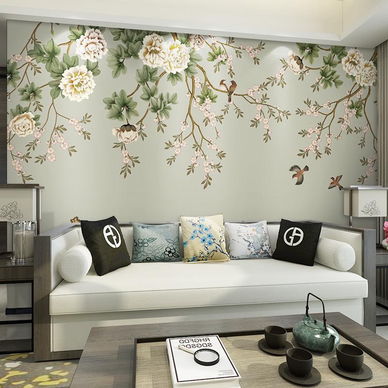电视背景墙壁纸现代新中式客厅卧室影视墙美式墙纸花鸟壁画3d墙布