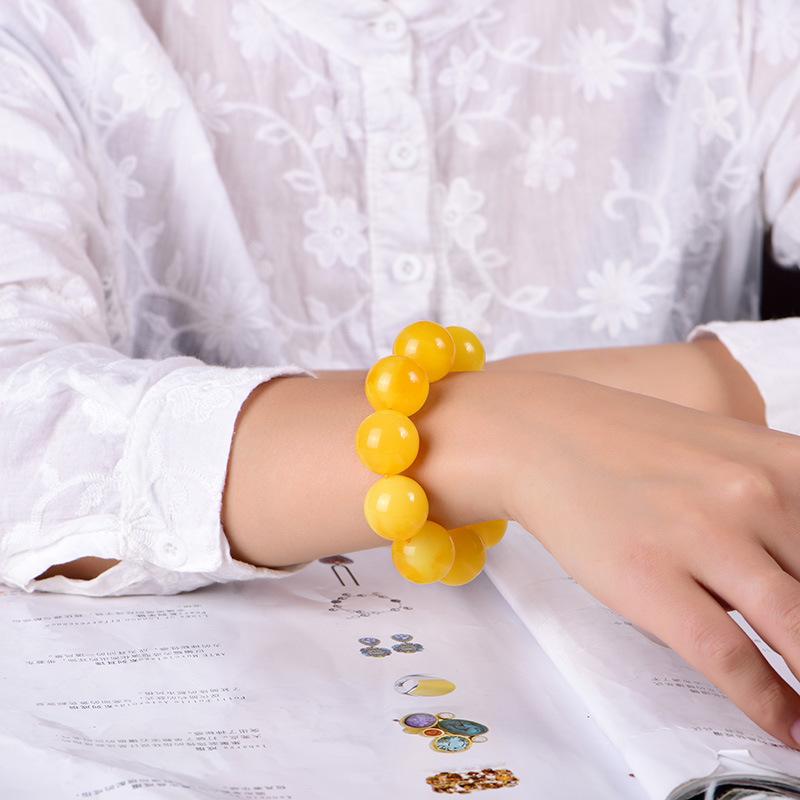 纯天然正品蜜蜡琥珀手串老蜜鸡油黄密腊佛珠男女文玩俄料花蜜手链