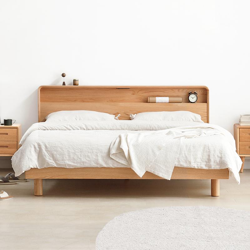 维莎日式1.5/1.8米实木床橡木双人/单人床环保北欧现代卧室家具