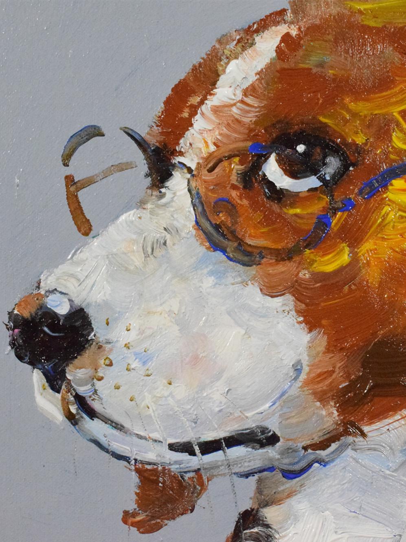 可定制动物油画手绘狗狗原创油画猫咪简约现代手法包邮店长作品