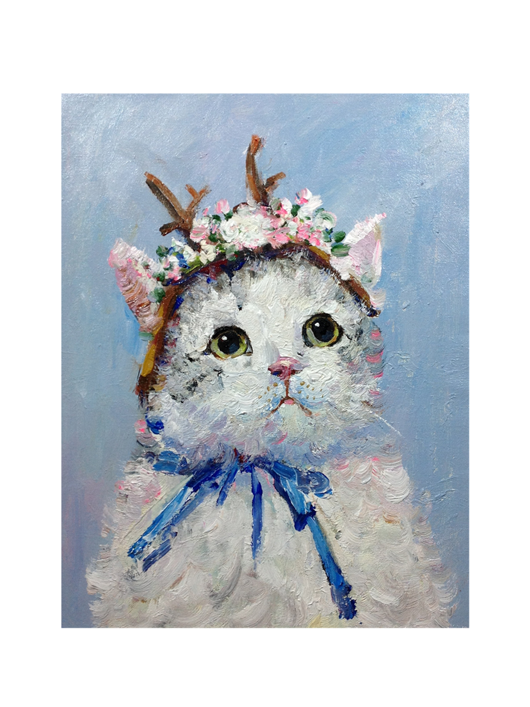 純手繪油畫花貓系列玄關掛畫原創動物油畫貓咪店長作品包郵收藏