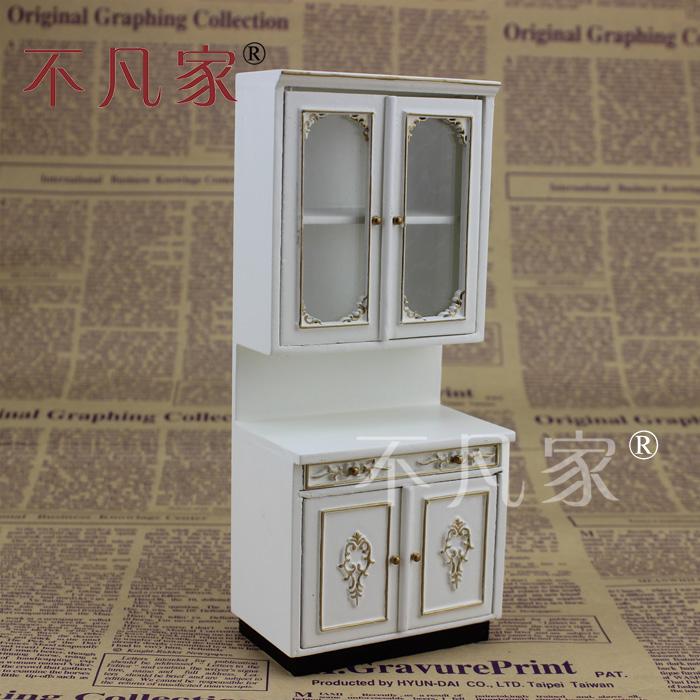 不凡家娃娃屋厨房1:12欧式宫廷迷你精品家具模型白色厨房套装橱柜